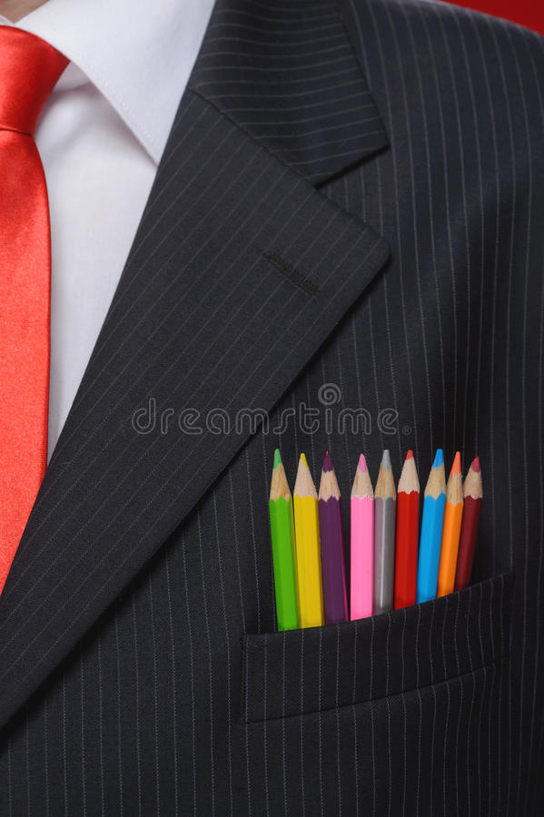 Close-up op creativiteit. Close-up op multikleurpotlodensticki royalty-vrije stock foto's
