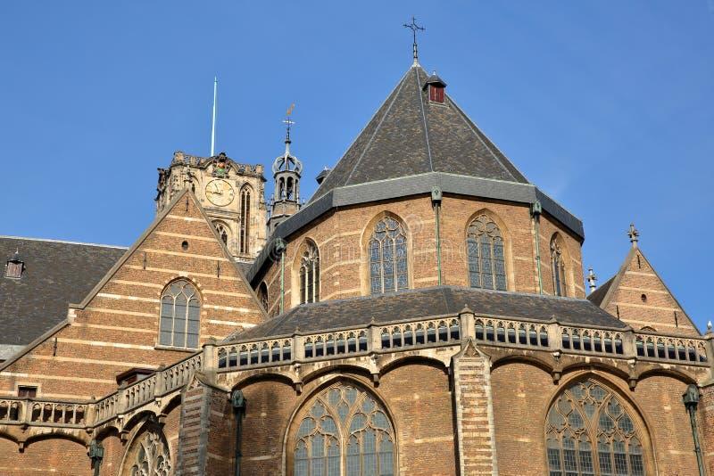 Close-up op St Lawrence Church Laurenskerk met de klokketoren en de spitsen, Rotterdam royalty-vrije stock fotografie