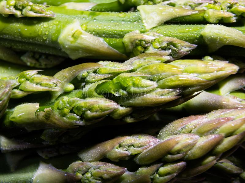 Close-up op verse, groene asperge stock fotografie