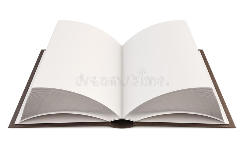 Close up of open book with blank page. 3d. Close up of open book with blank page on white background. 3d illustration vector illustration