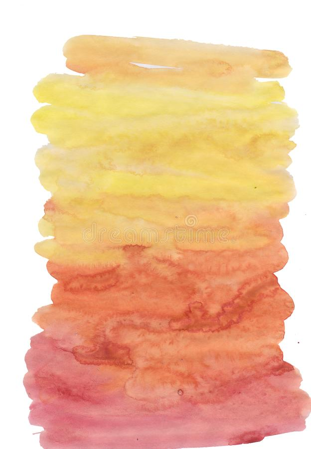 Close up of Orange artwork isolated on white background. Abstract watercolor painting art. Hand drawing in color yellow on hot ton. Ed. Watercolor texture for stock illustration