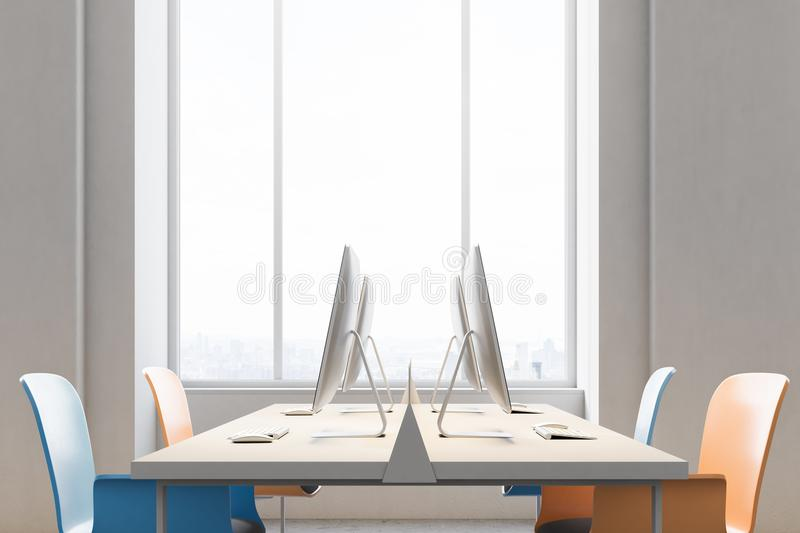 Close up of orange and blue chairs office. Close up of an orange and blue chairs open office interior with a conrete floor, rows of computer desks and blue and stock illustration
