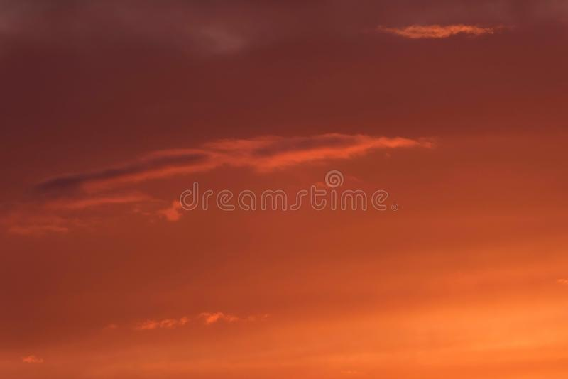 Close-up of orange coloured clouds. royalty free stock photography