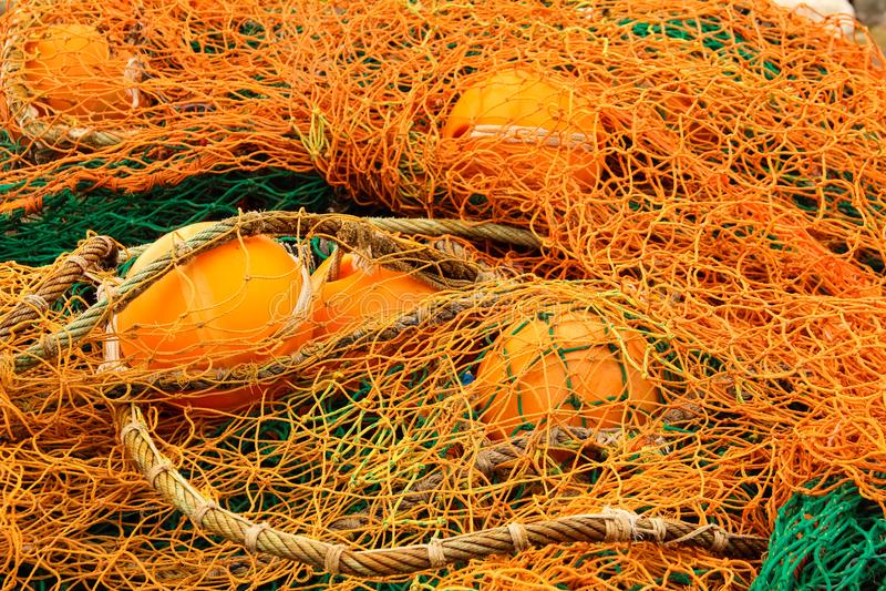 Close-up of orange fishing net. royalty free stock photos