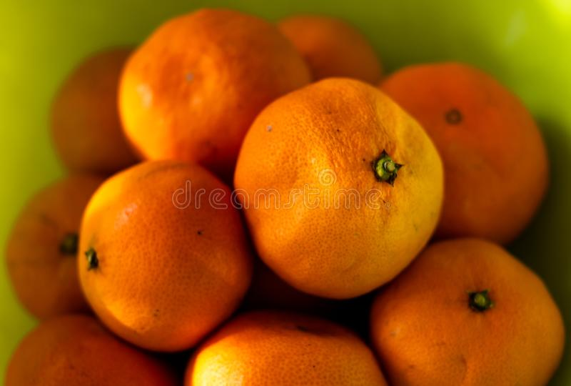 Close-up , orange fruits green color background ,Healthy fruits. stock photo