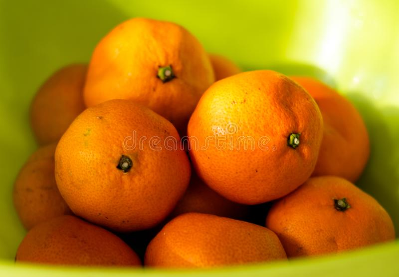 Close-up orange fruits green color background .sunlight stock image