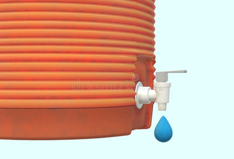 A close up of an orange plastic water cooler dispenser container dripping water droplets against a light blue backdrop vector illustration
