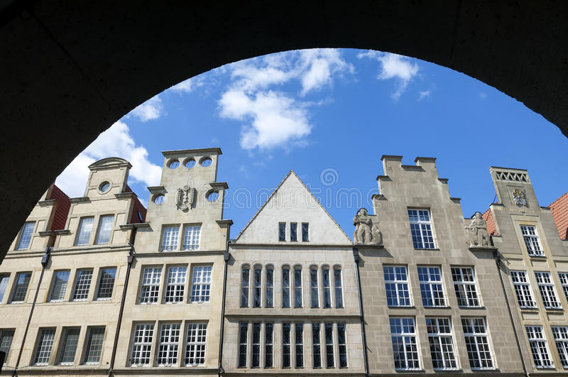 Close-up oude gebouwen, MÃ ¼ nster, Duitsland royalty-vrije stock foto's