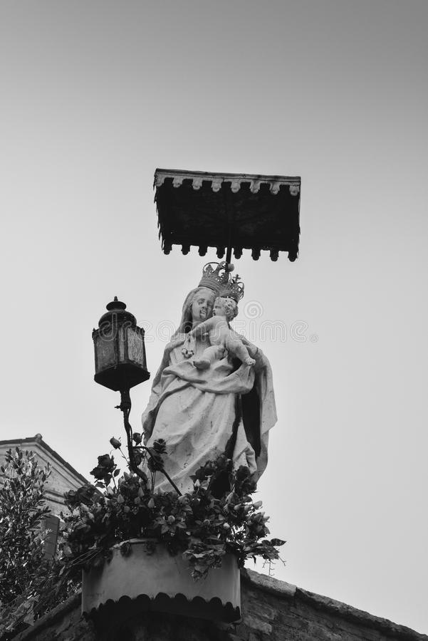 Close-up of Our Lady with open arms, bottom view royalty free stock photo