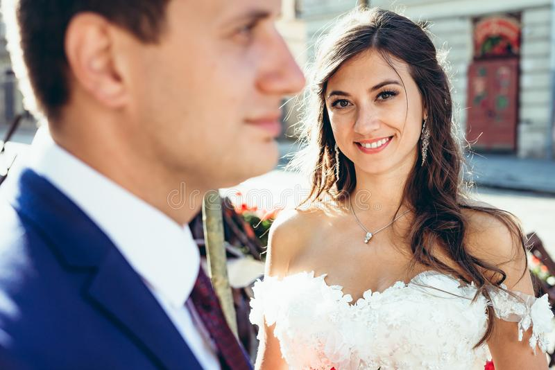Close-up outdoor portrait of the young brunette bride with lovely sight and pretty smile looking in camera standing stock photo