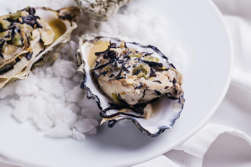 Oyster Rockefeller And Sake-poached Oyster, Cooked In Hijki