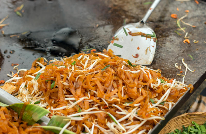 Close up pad-thai menu. Close up Pad-thai noodle menu in frying pan on street food stock photo