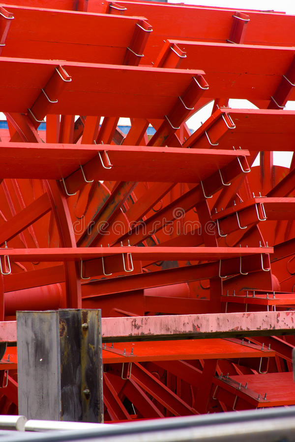 Close-up of paddles on a paddleboat. Close-up detail on a riverboat's paddles in red royalty free stock photos