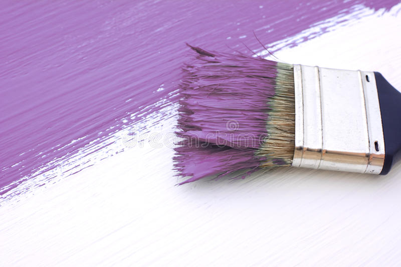 Close-up of paintbrush painting a white board purple. Close-up of paintbrush with paint-covered bristles painting a white board purple royalty free stock image