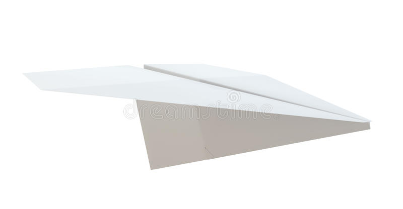 Close up of paper airplane. On white background. 3D Illustration royalty free illustration
