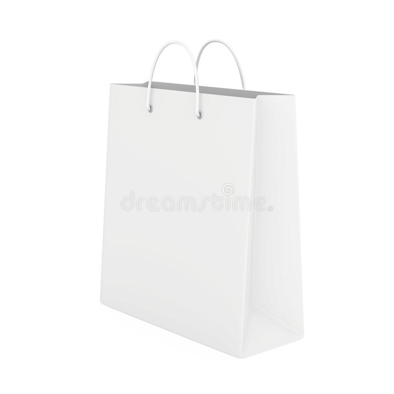 Close up of paper bag on white background with clipping path. 3d rendering royalty free illustration