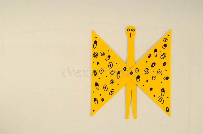 Close-up of paper butterfly. Object on a White Background stock illustration