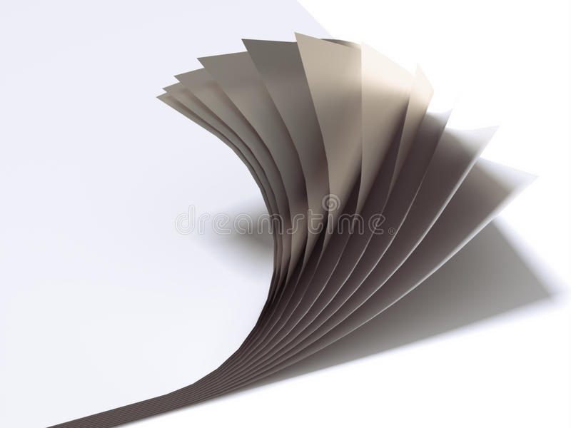 Close up of paper sheets. Isolated on a white background stock illustration