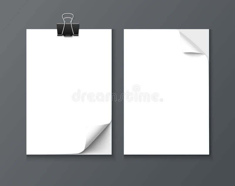 Close up of a paper sheets with curled edge on dark background vector illustration