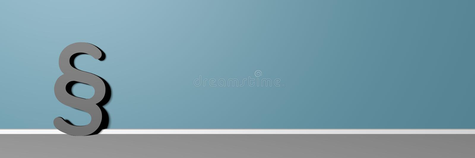 3D rendering Of A Paragraph Symbol Leaning On Red Wall royalty free illustration