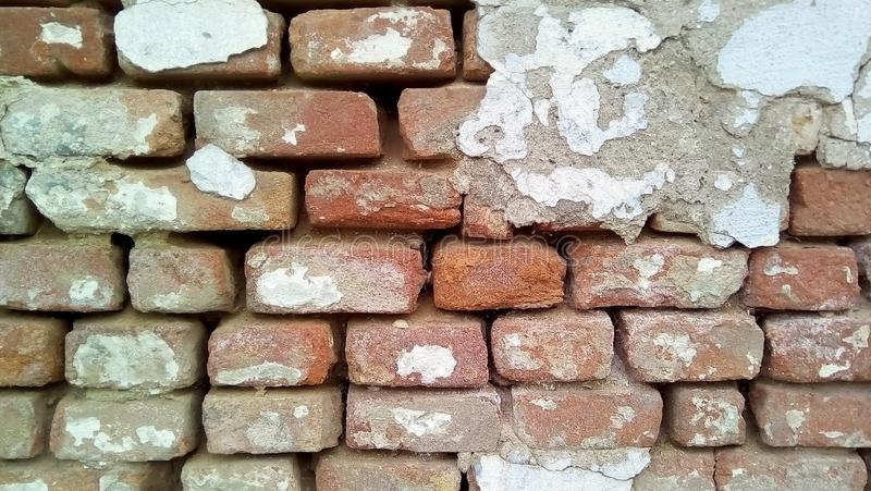 Close-up of part of a brick wall. stock images