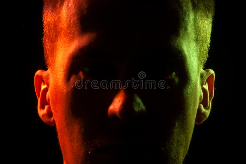 Close-up of the part of face of an unshaven face of a man with s royalty free stock photography