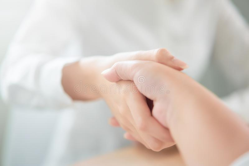 Close up of partnership handshake successful after negotiating business. Connection deal concept. royalty free stock photo