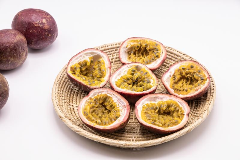 Passion fruits isolate on white background.Passion fruit is a flowering tropical vine. stock images