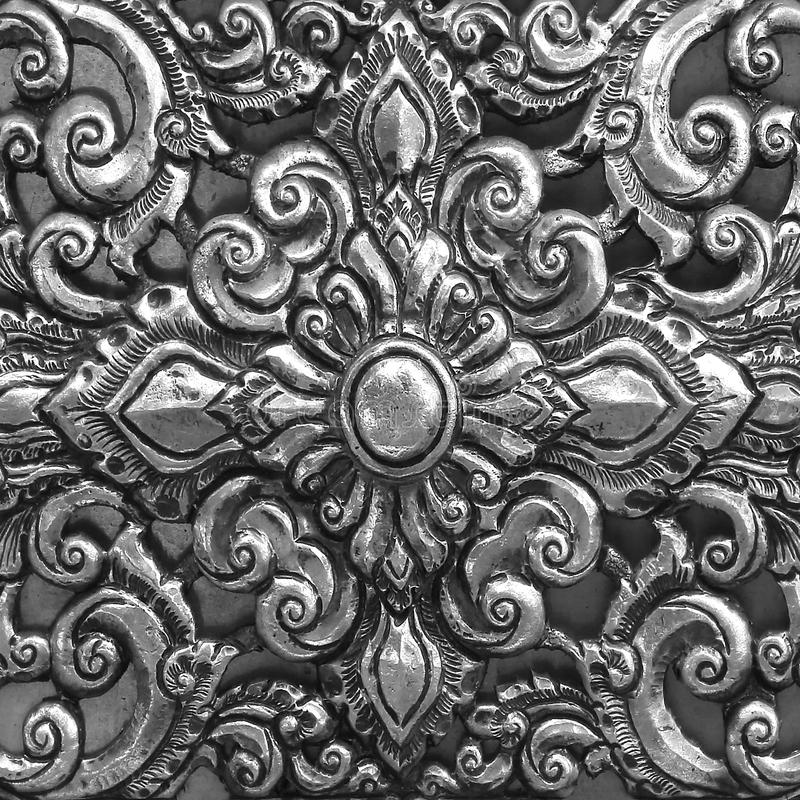 Close-up pattern of carving silverware stock images