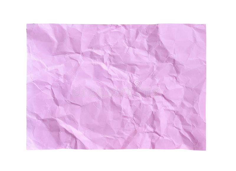 Patterns of blank wrinkle light pink paper texture abstract top view isolated on white background with clipping path royalty free stock photography
