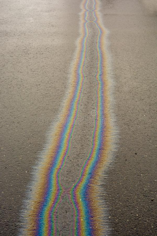 Oil spill on the road can pollute groundwater stock photography