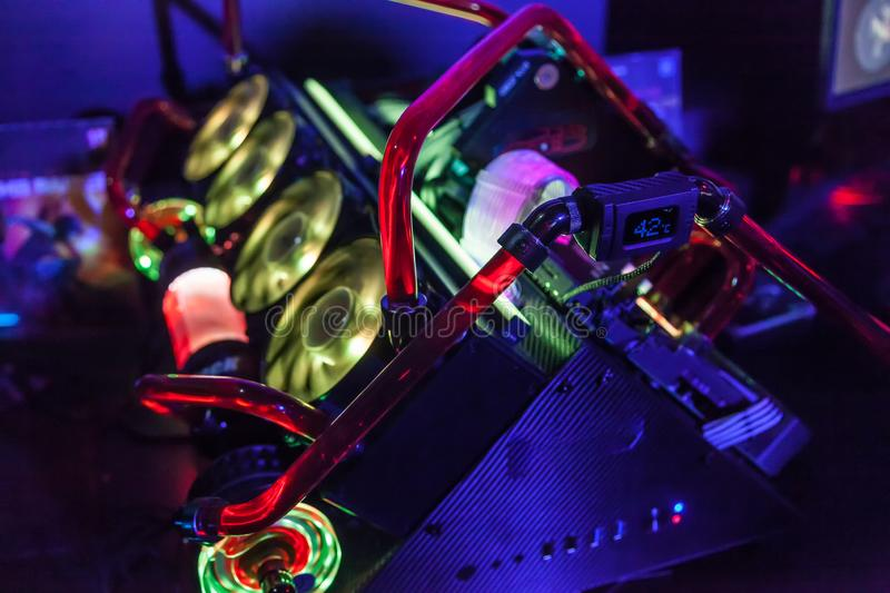 close up of pc for gaming with colorful led. super computer stock photography