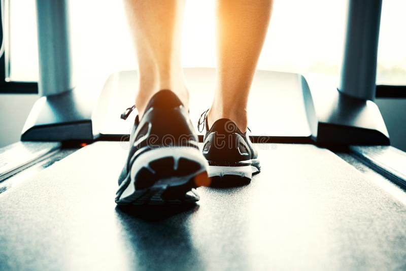 Close up of people who exercising on treadmill. Close-up of woman legs walking by treadmill in sports club. Fitness and Body royalty free stock photo