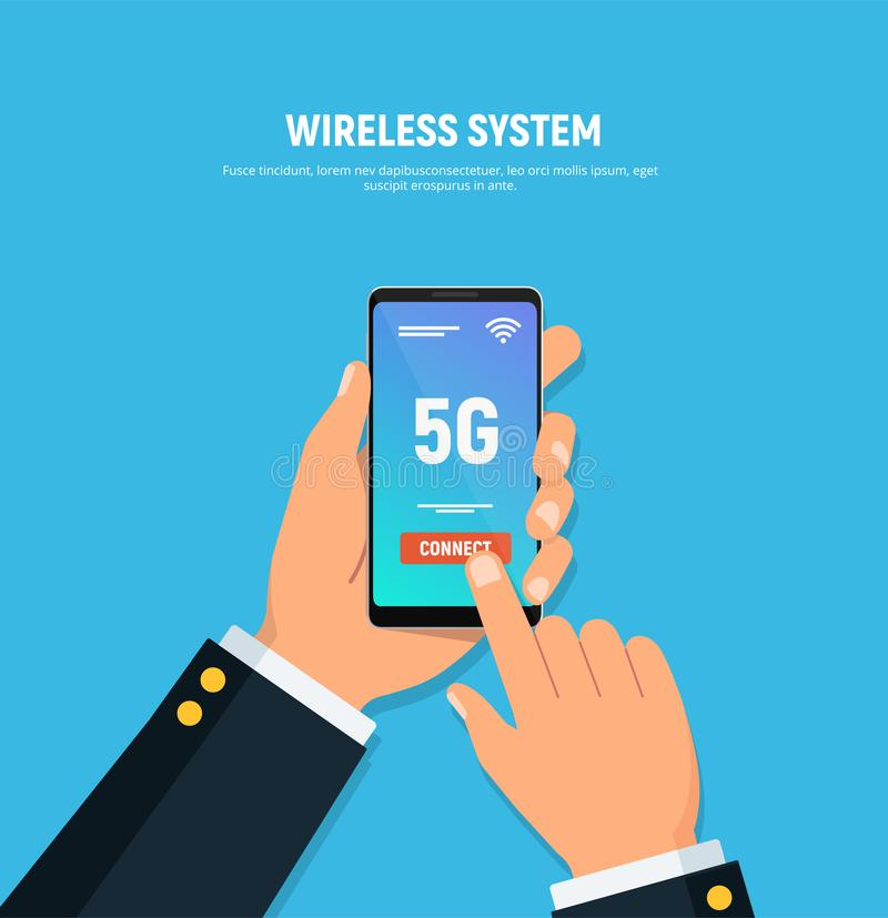 Close-up of person hands holds phone with 5G connect on screen. High speed mobile technology. Wireless system concept. stock illustration