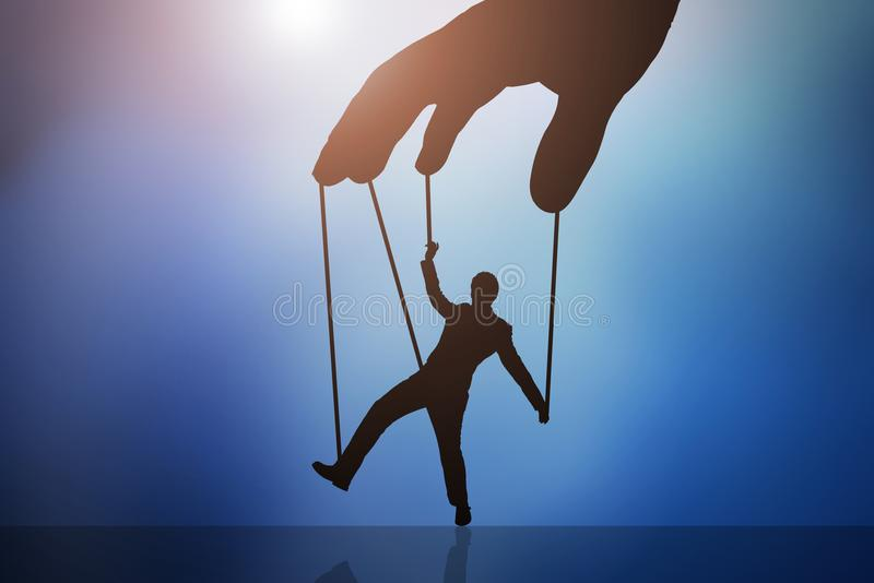 Person`s Hand Controlling Puppet Man stock illustration