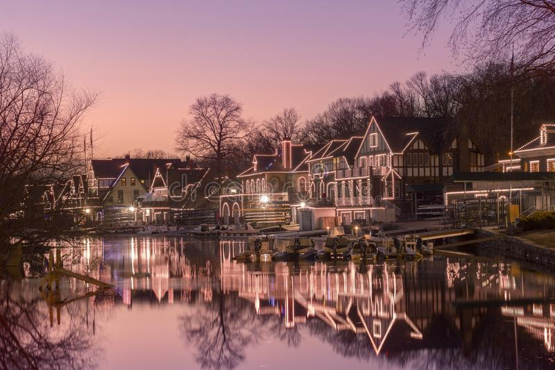 Close up of Philadelphia Boathouse Row at Sunset. A Closeup of Philadelphia`s historic boathouse row at sunrise with a pristine reflection stock images