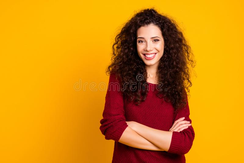 Close up photo amazing attractive her she lady glad self-confident arms crossed leisure rejoice wearing maroon knitted stock images