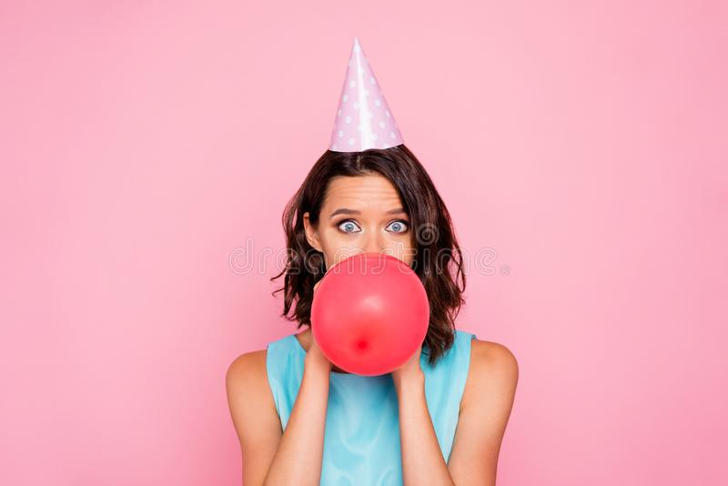 Close up photo amazing beautiful she her lady attractive appearance birthday cap head hide half face big red balloon. Close up photo amazing beautiful she her royalty free stock photos