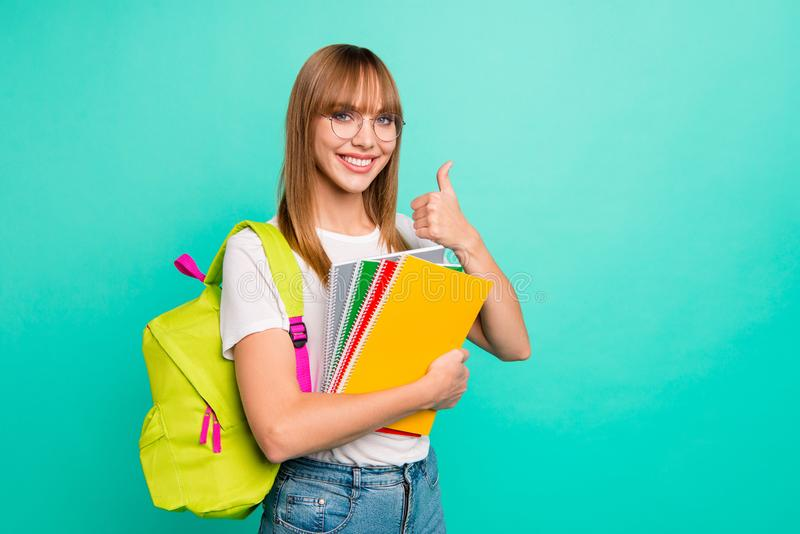 Close up photo amazing beautiful she her lady hold arms hands school colored notebooks last year studying science genius royalty free stock photo