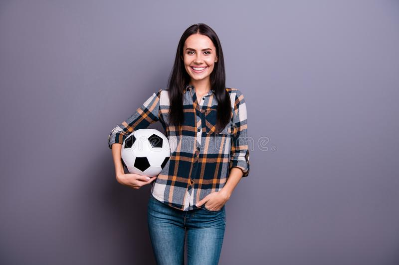 Close up photo amazing beautiful she her lady hold hands arms leather football soccer ball want start begin practicing royalty free stock images