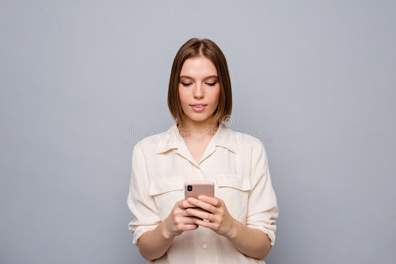 Close up photo amazing beautiful nice she her lady hold hands arms telephone wondered look screen reader email letters royalty free stock photography