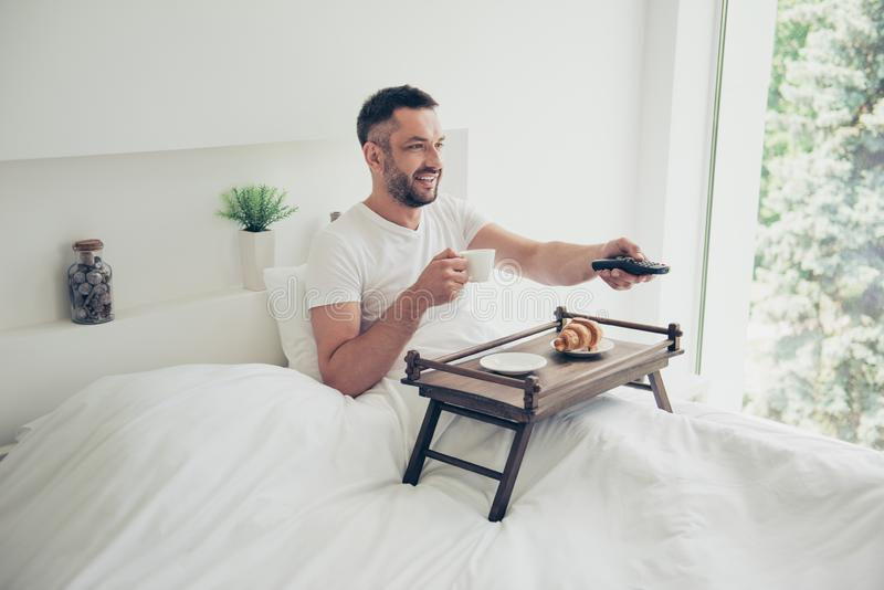 Close up photo amazing he him his guy good morning concept sweet bakery breakfast coffee little tea table changing stock photo