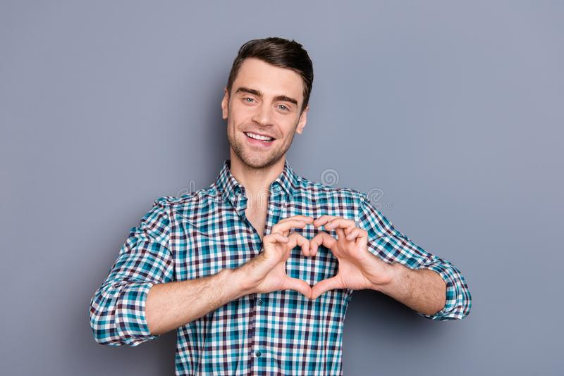 Close up photo amazing he him his man arms hands imaginary heart shape figure cute postcard for girlfriend perfect stock images