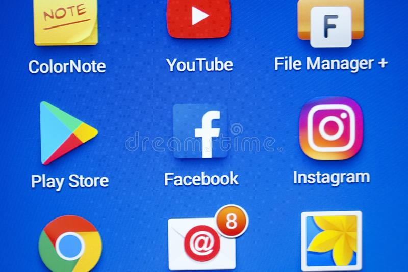 A Close-up Photo Of Apple IPhone Start Screen With 'Facebook