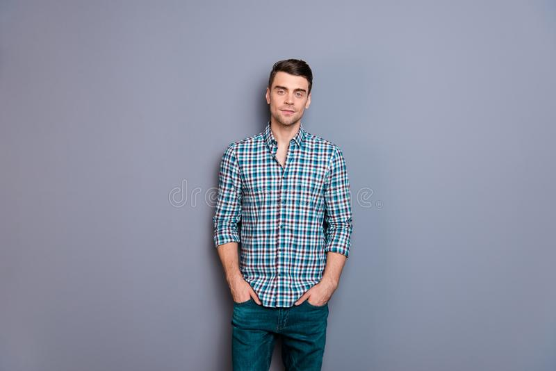 Close up photo attractive amazing he him his man arms hands in pockets ideal perfect hairdo styling easy-going wearing. Casual plaid checkered shirt jeans denim royalty free stock photos