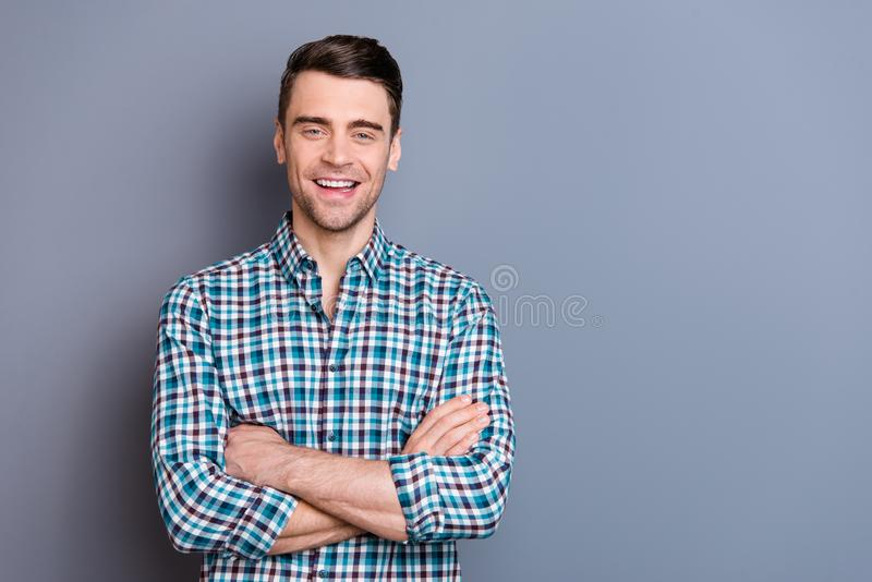 Close up photo attractive amazing he him his man hands arms crossed self-confident laughing comic situation perfect stock photo