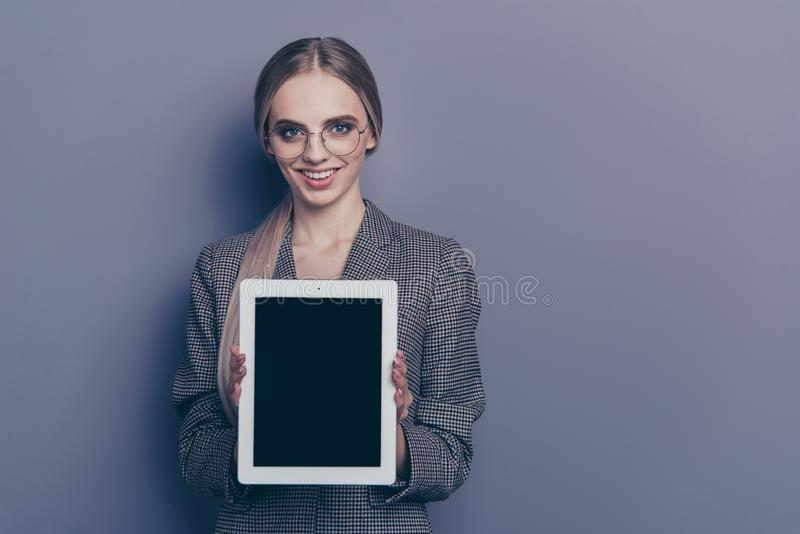 Close up photo of attractive beautiful she her lady with tablet royalty free stock photography