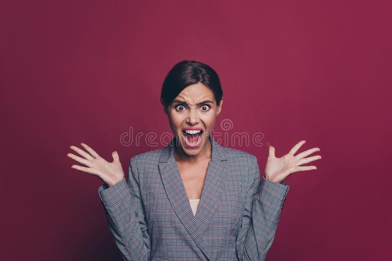 Close up photo beautiful amazing business she her lady arm hand fingers in air yelling loud displeased violence facial. Expression wearing specs formal-wear stock photography