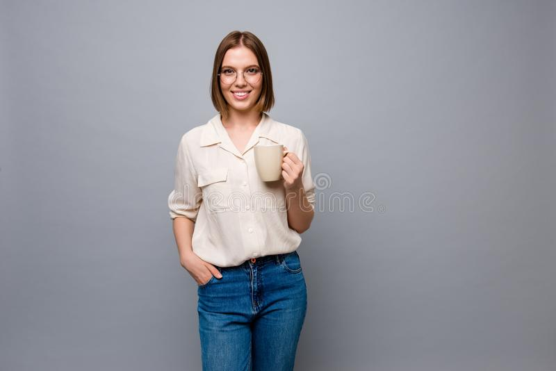 Close up photo beautiful amazing cute she her business lady hands arms hot beverage dinner lunch free time wear eyewear stock photos
