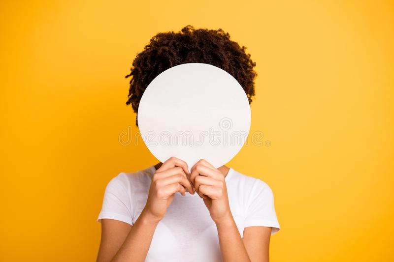 Close up photo beautiful amazing she her dark skin lady hiding face round circle banner placard do not want be royalty free stock photo